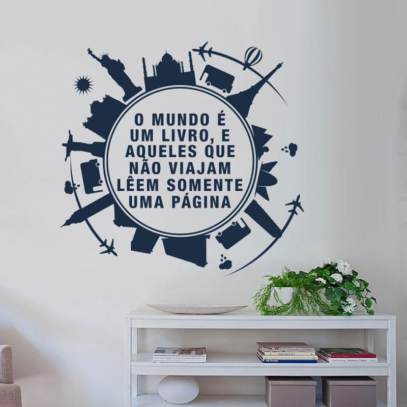 Adesivo Decorativo o Mundo é um Livro...