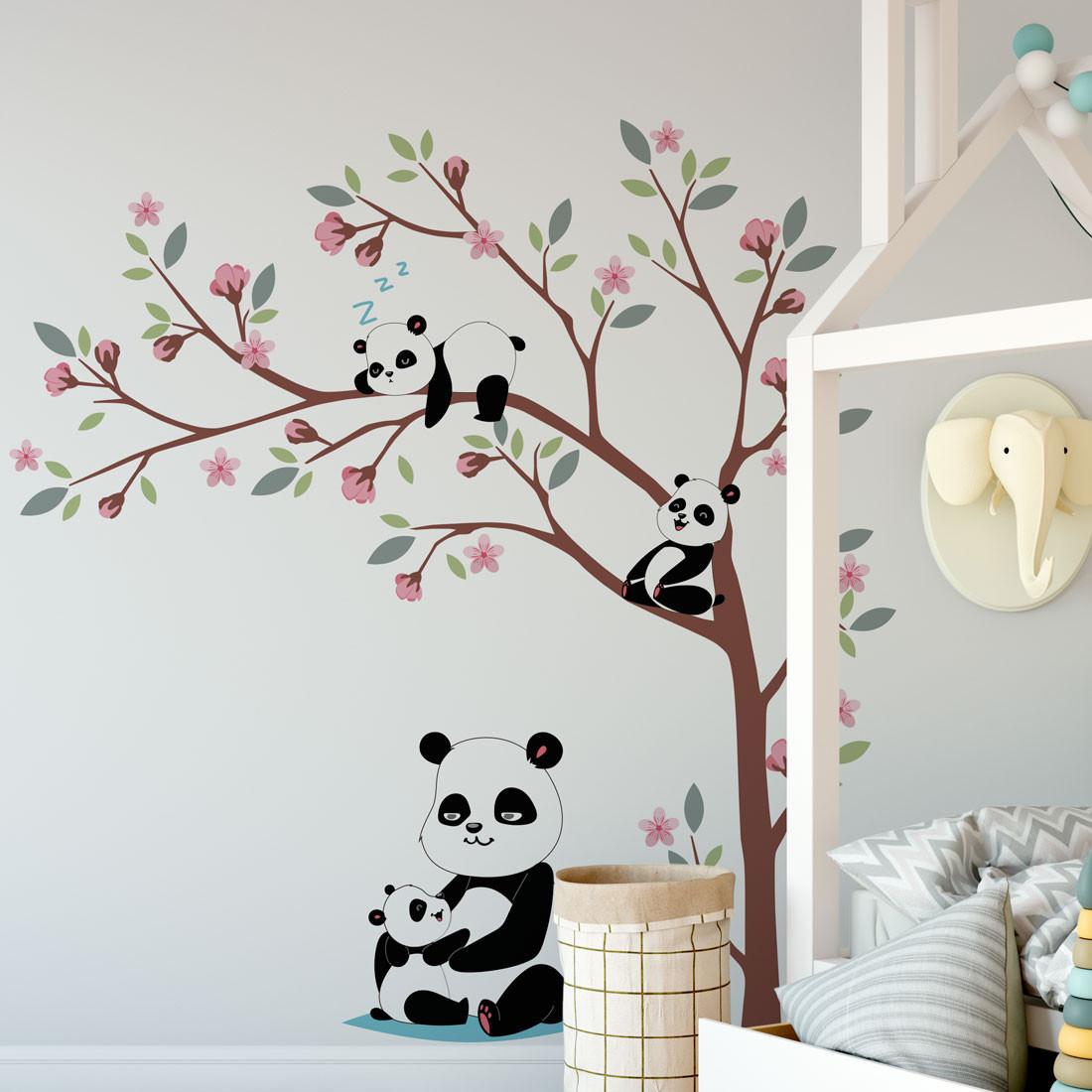 Adesivo de Parede Mamãe Panda e filhotes