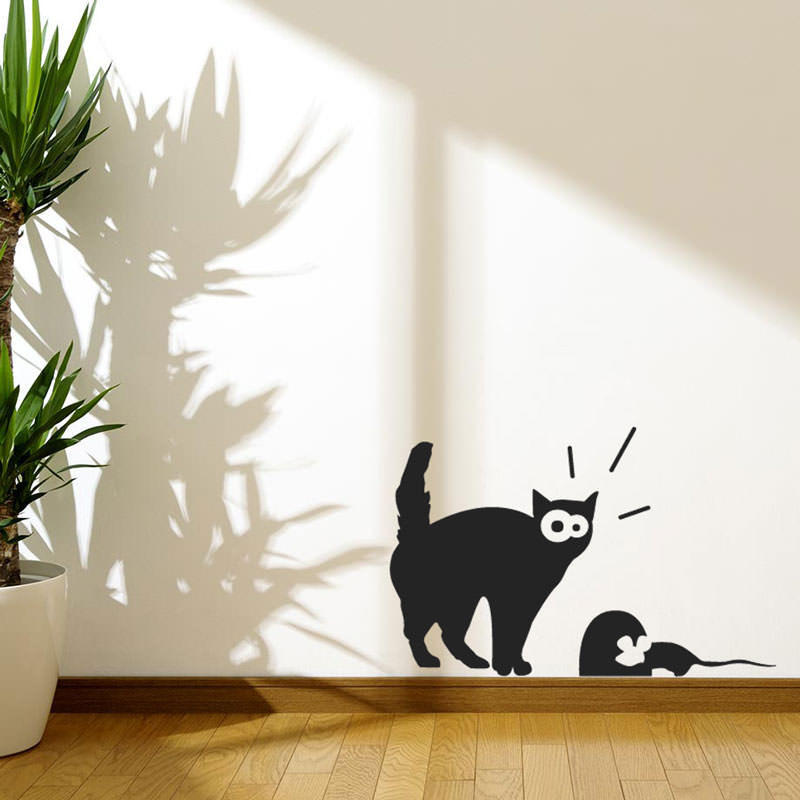 Artesanato Facil Rapido E Lucrativo ~ Adesivo de Parede Gato e Rato bemColar Adesivos De Parede