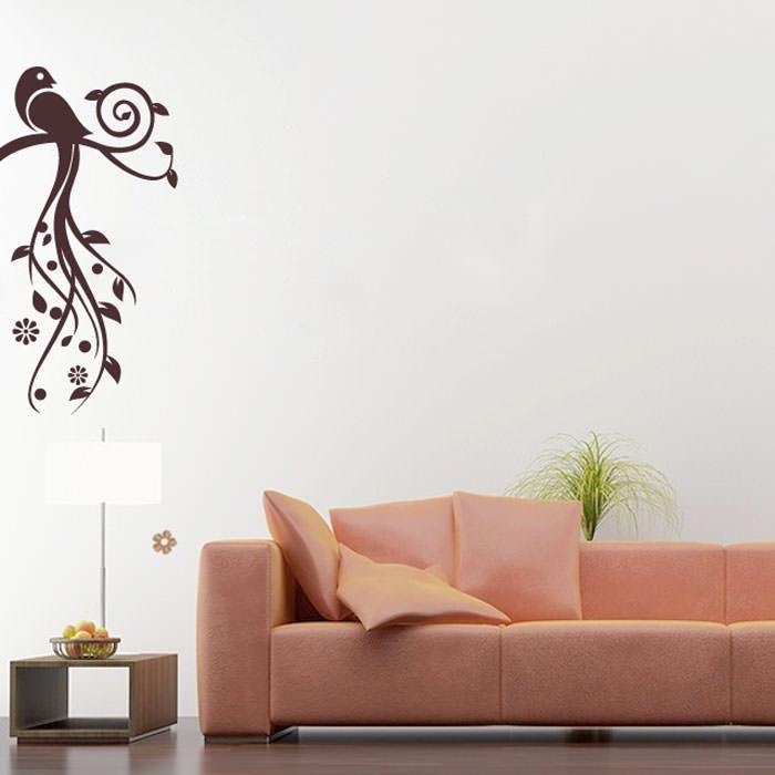 Adesivo Decorativo de Parede Pássaro Floral