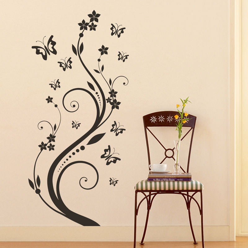 Adesivo Decorativo Floral com Borboletas