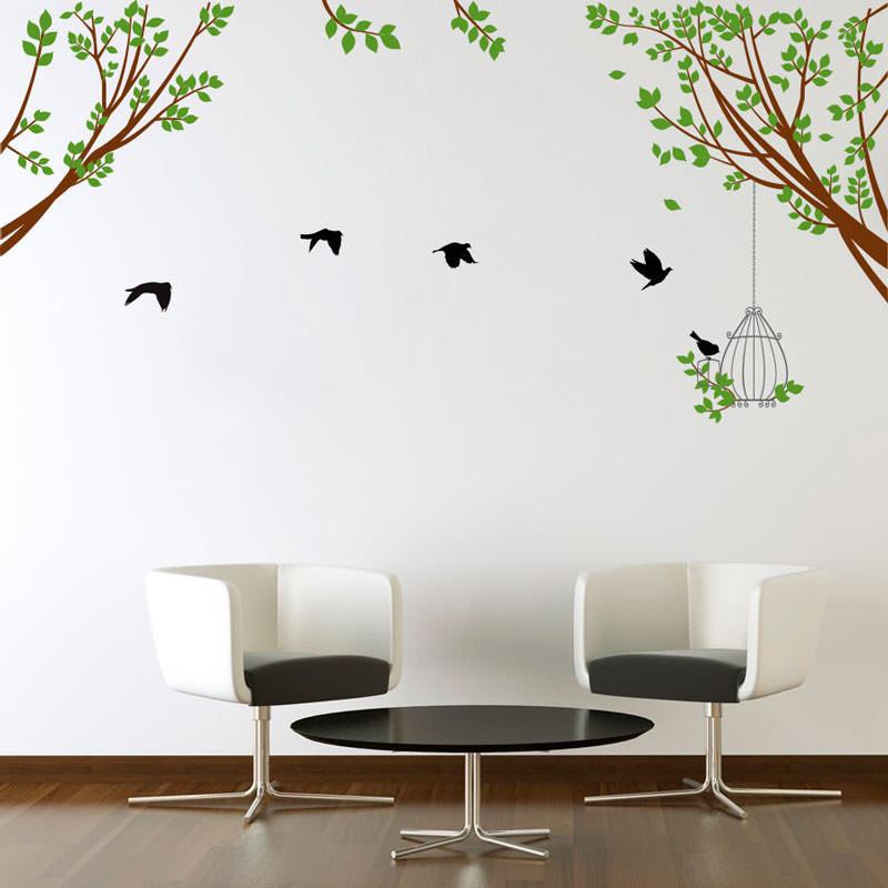 Adesivo Decorativo de Parede Galho e Pássaros