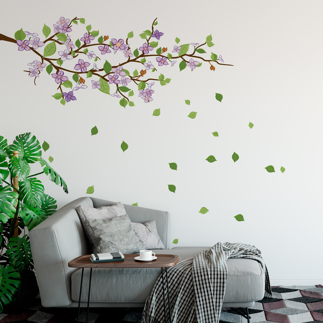 Adesivo de Parede Decorativo Galho Floral