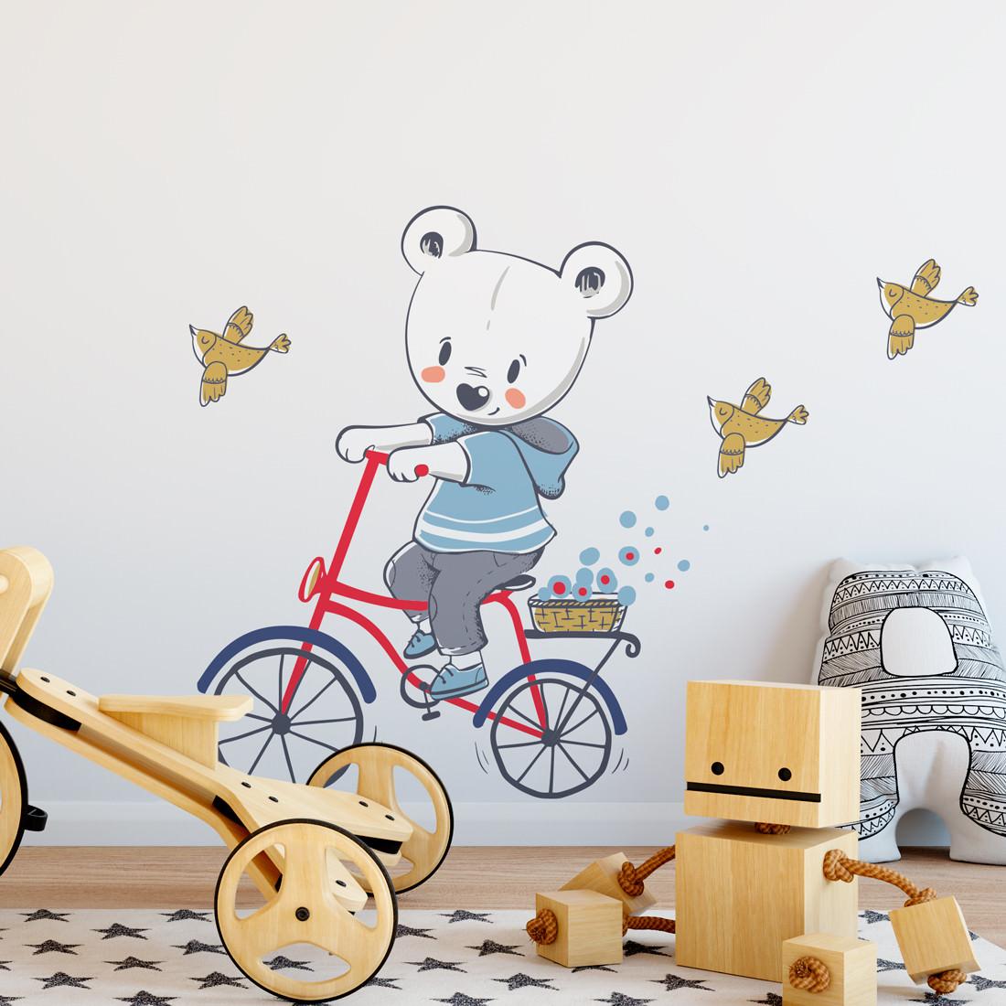 Adesivo de Parede Infantil Ursinho Bicicleta