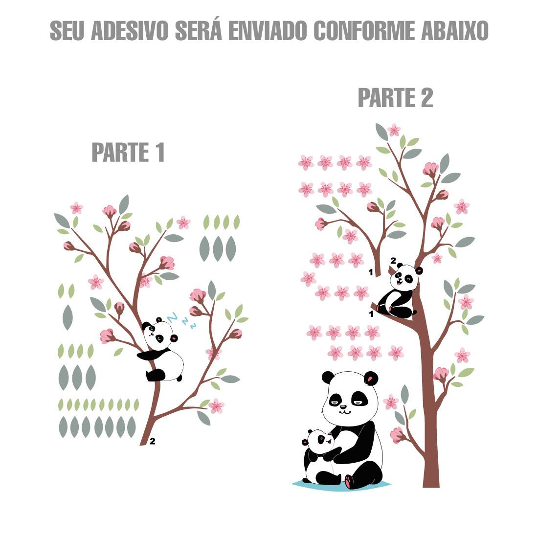 Adesivo de Parede Mamãe Panda arvore