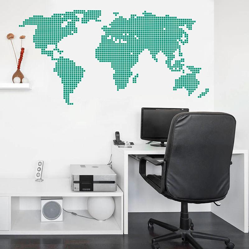 Adesivo de Parede Sala Mapa Mundi Ladrilhado II