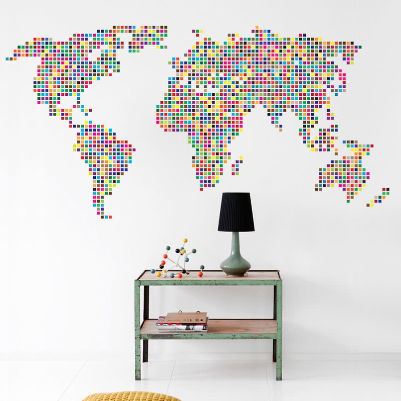 Adesivo Decorativo de Parede Mapa Mundi Ladrilhado