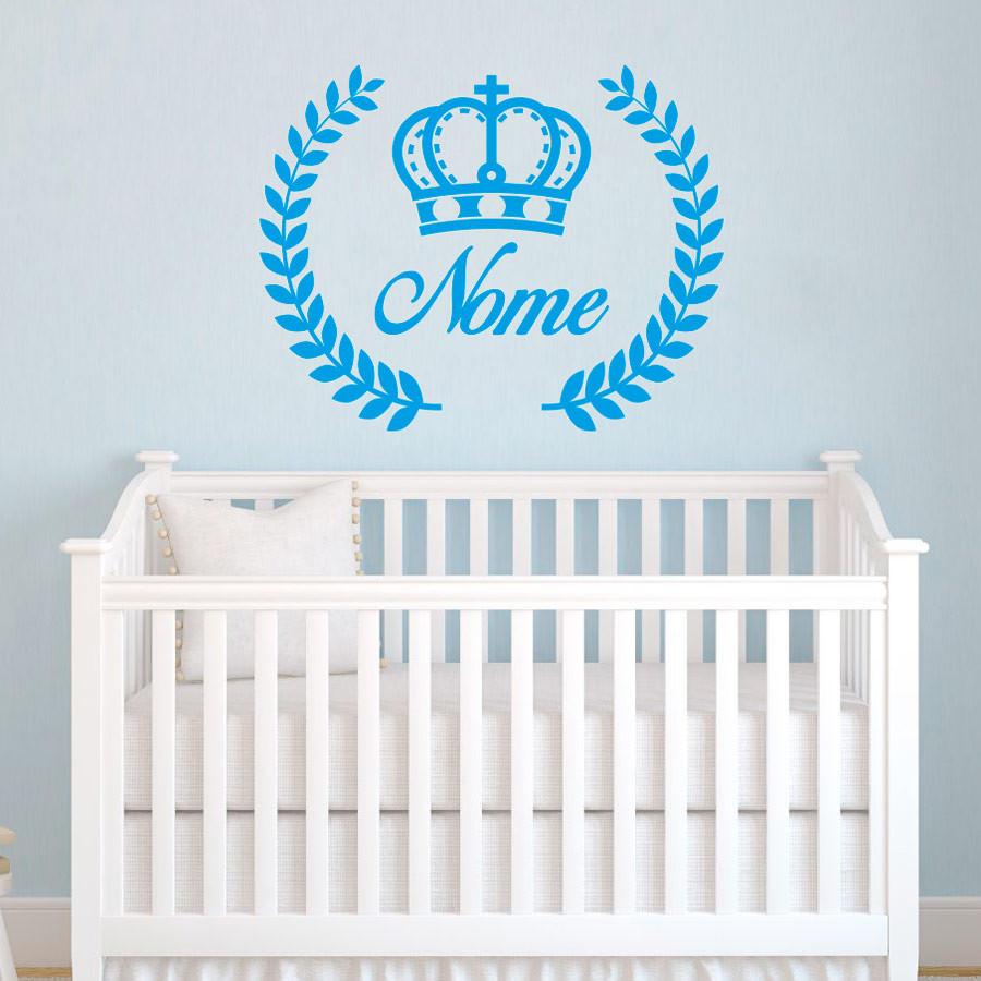 Adesivo de Parede Infantil Nome Personalizado Coroa