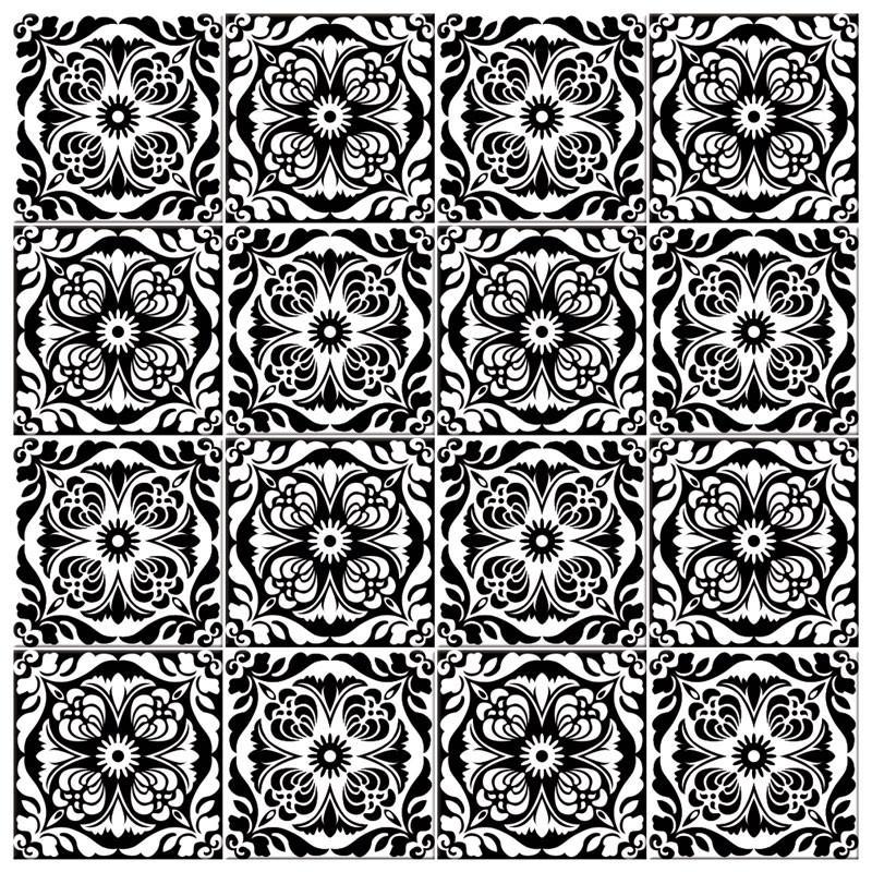 Adesivo para Azulejo Português Hidráulico Preto Branco