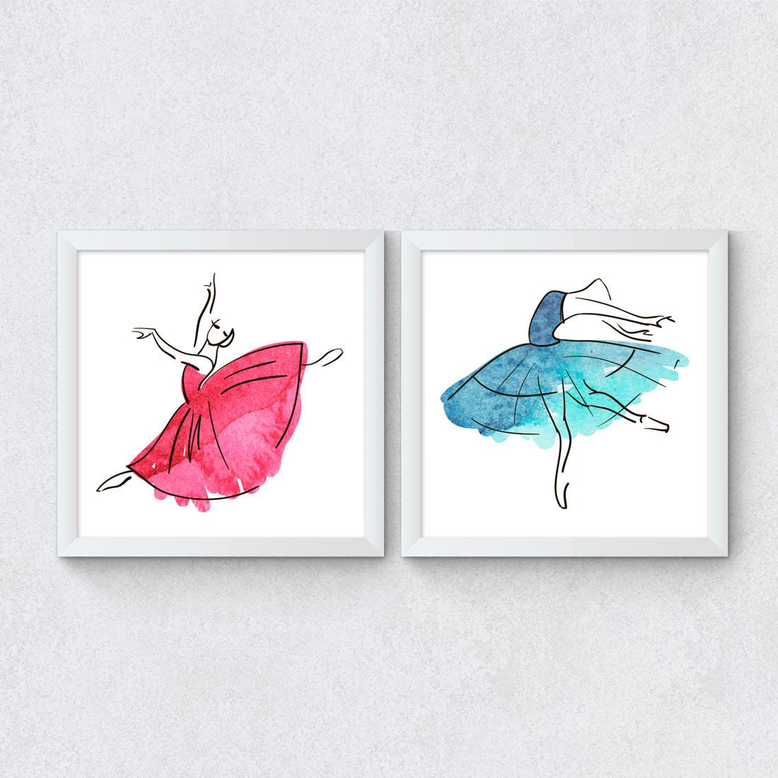 Conjunto de Quadrinhos Decorativos Bailarinas