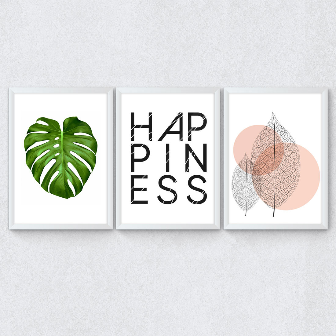 Conjunto de Quadros Decorativos Happiness Costela de Adão