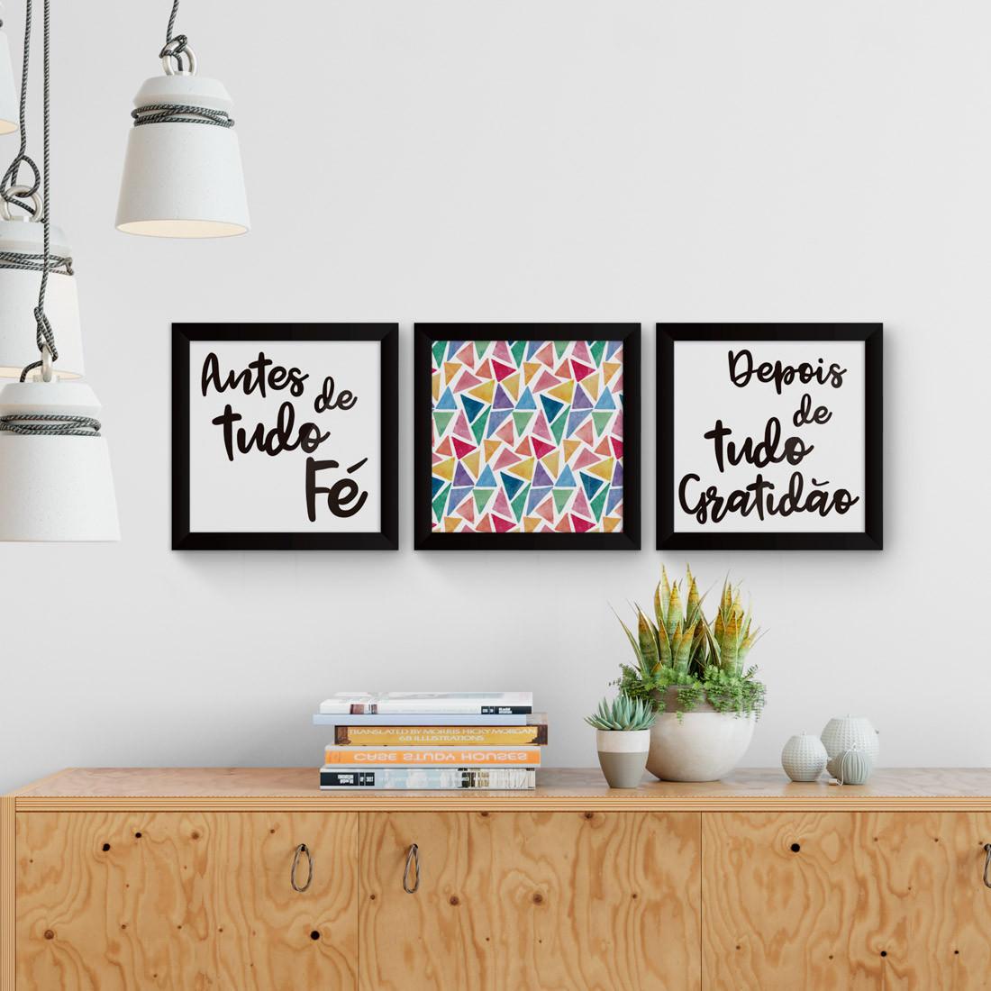 Conjunto de quadros decorativos antes f depois gratid o for Conjunto de espejos decorativos