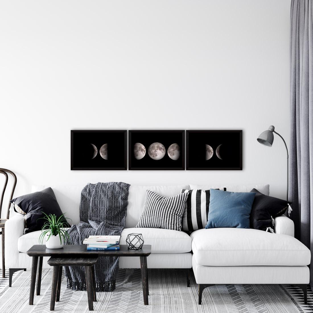 Conjunto de Quadros Decorativos Fases da Lua