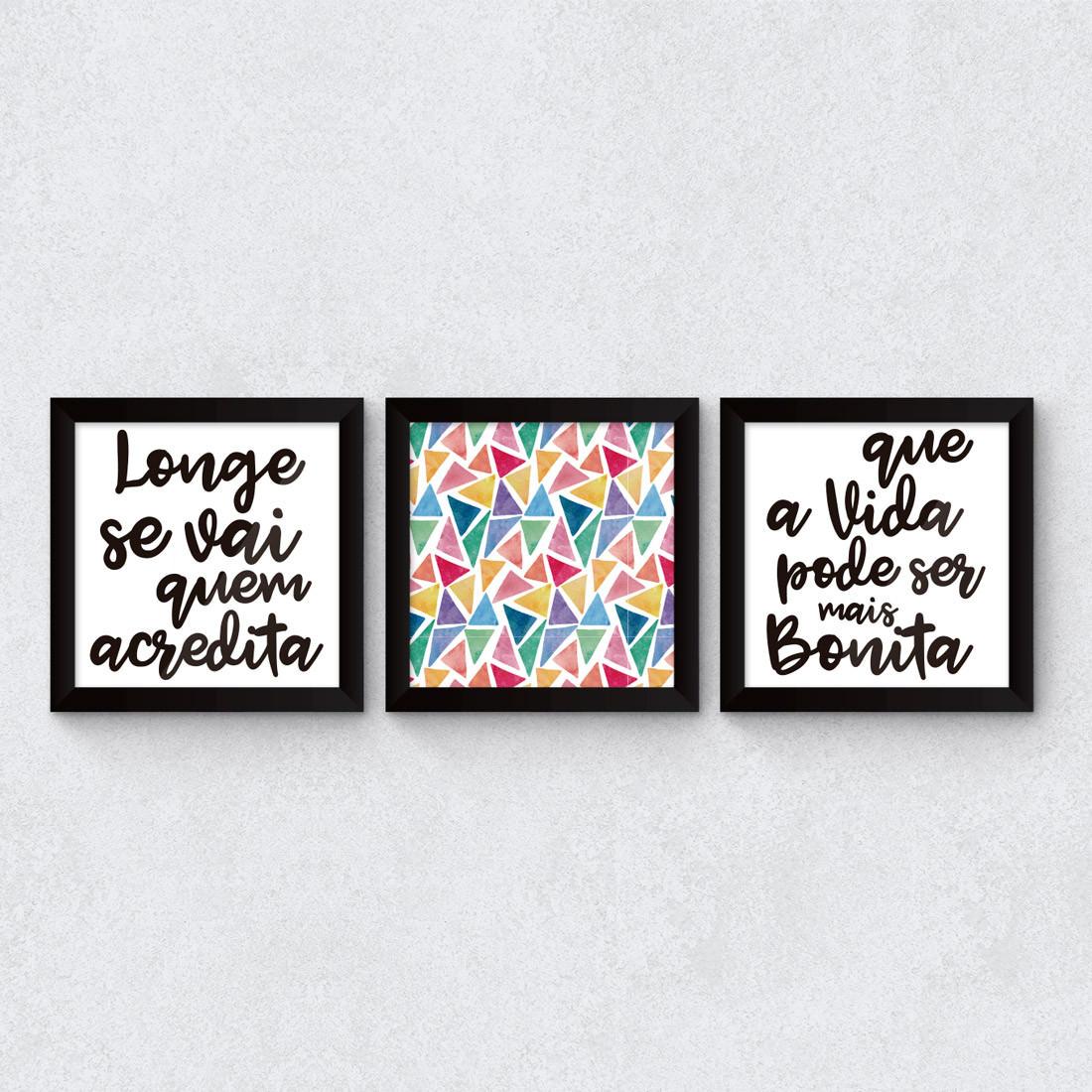 """Conjunto de Quadros Decorativos """"Que a vida pode ser mais bonita"""""""