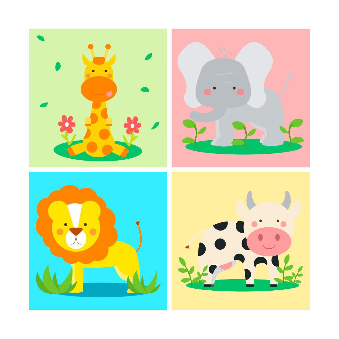 Painel Conjunto de Quadros Decorativos Infantil Animais Divertidos