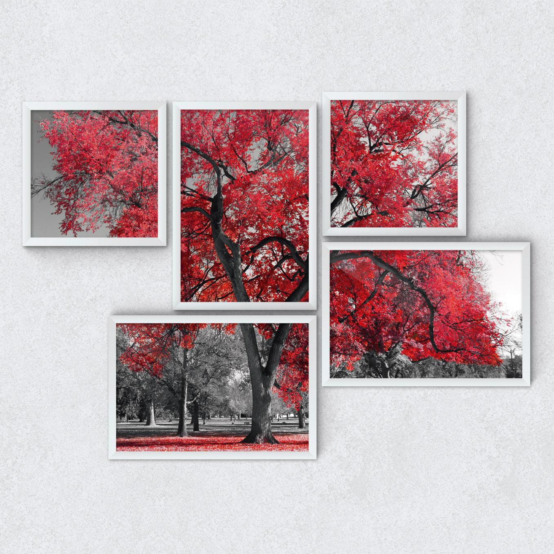 Quadros Decorativos Árvore Vermelha Outono