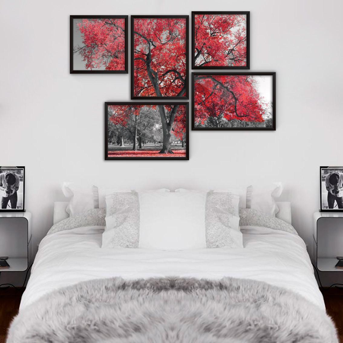 Conjuntos de quadros decorativos rvore vermelha modelo for Conjunto de espejos decorativos
