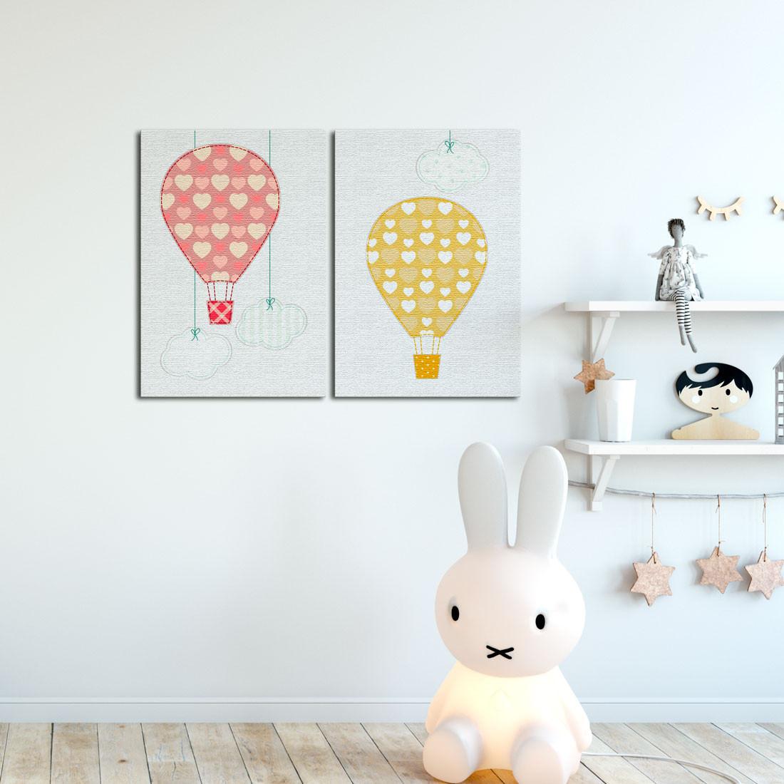 Quadro Decorativo Infantil Balões e Nuvens - Em Canvas