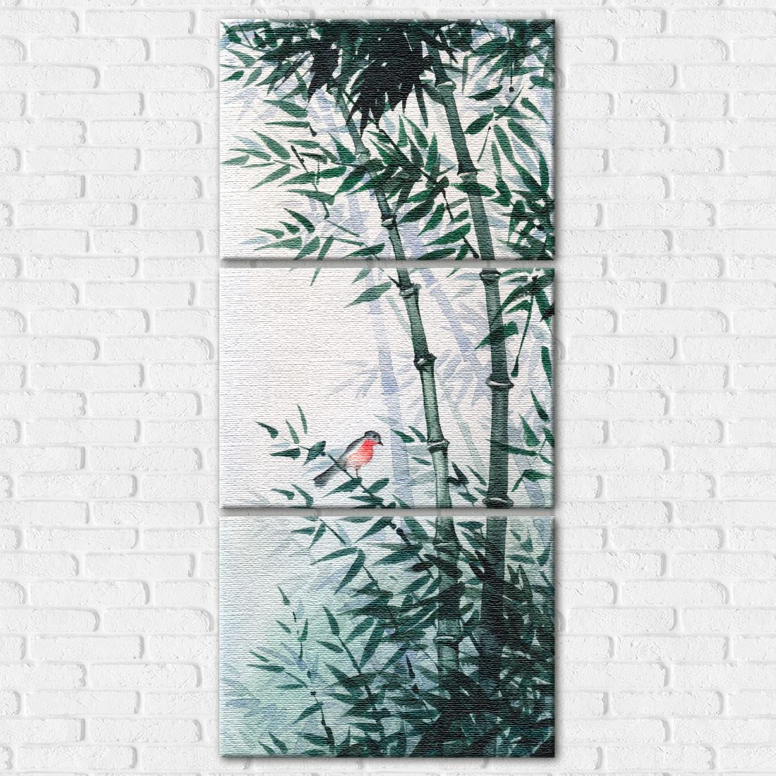 Quadro Decorativo em Canvas Bambus e Pássaro