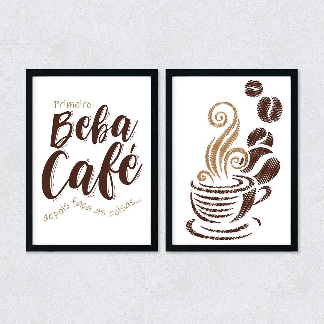Conjunto de Quadros Decorativos Beba Café