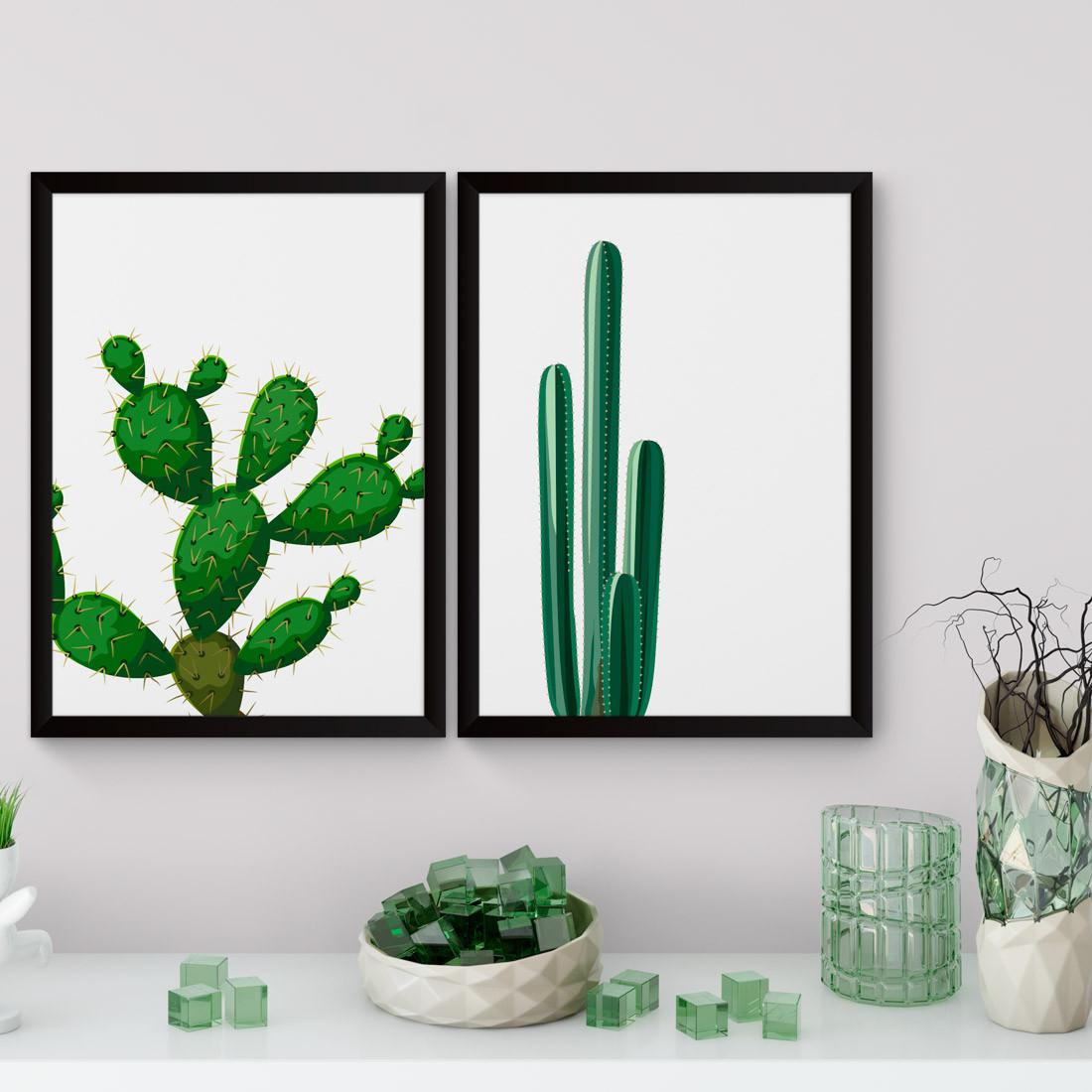 Conjunto de Quadros Decorativos Cacto Palma