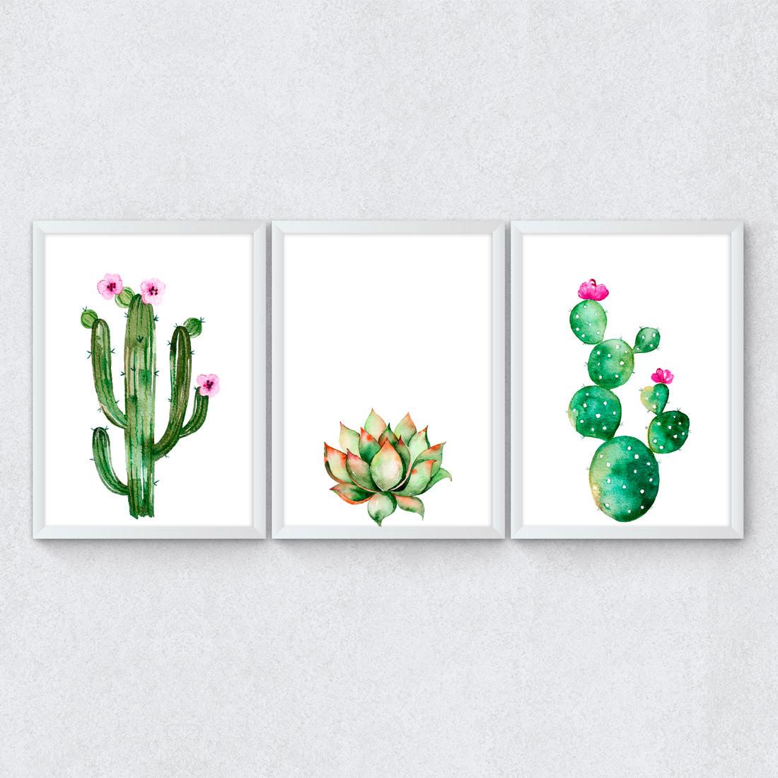 Conjunto de Quadros Decorativos Cactos e suculentas