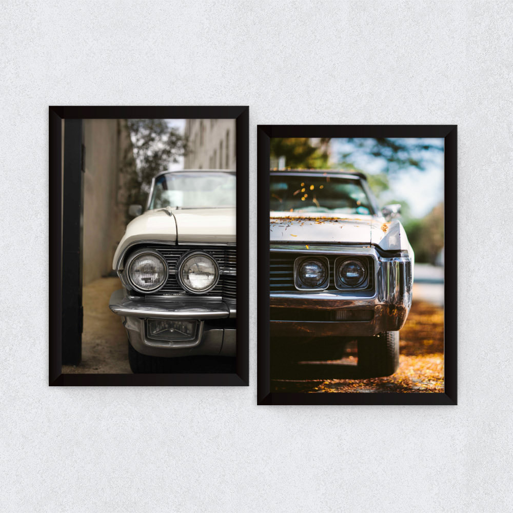 Conjunto de Quadros Decorativos Vintage Frente Carros