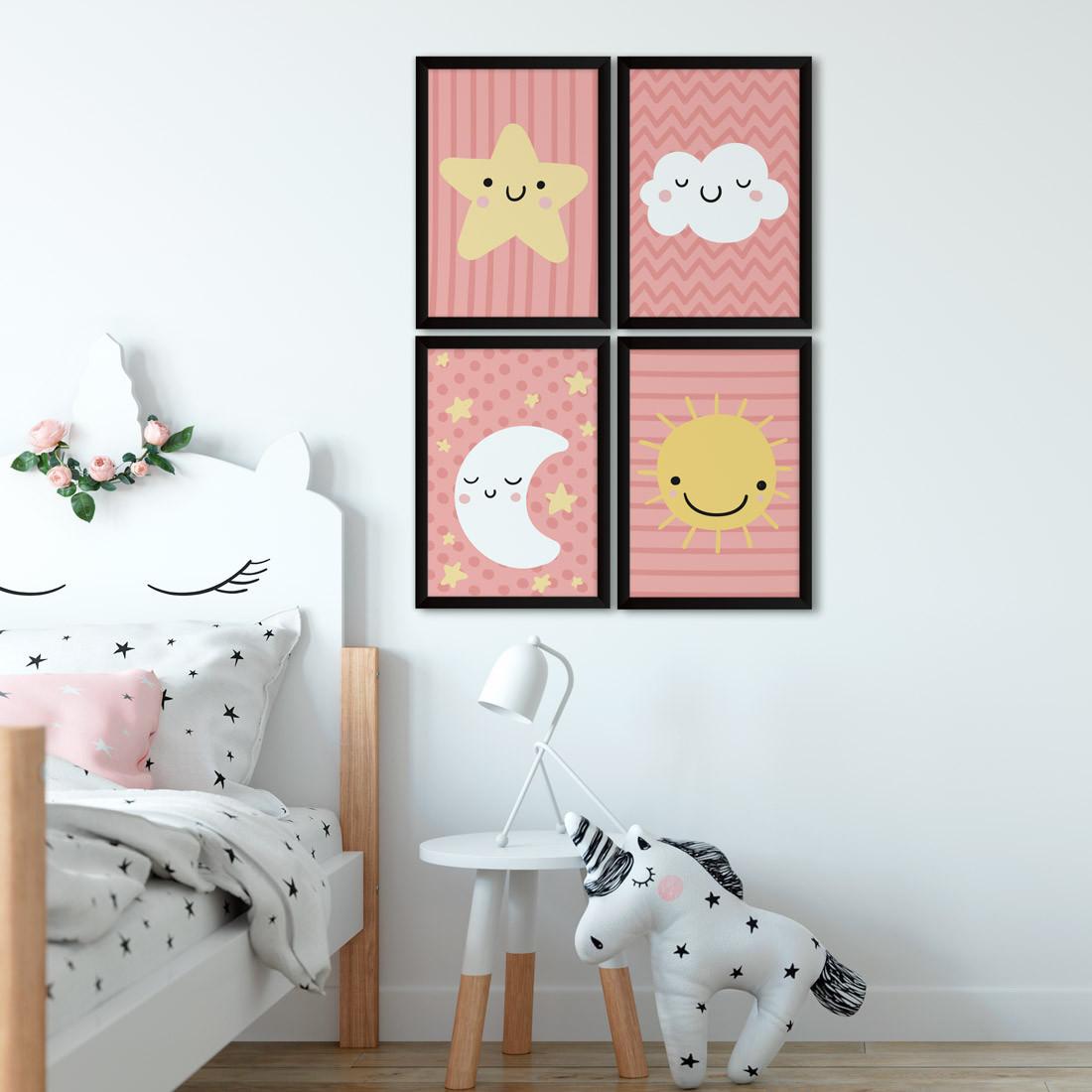 Conjunto de Quadros Decorativos Infantil Céu Rosa
