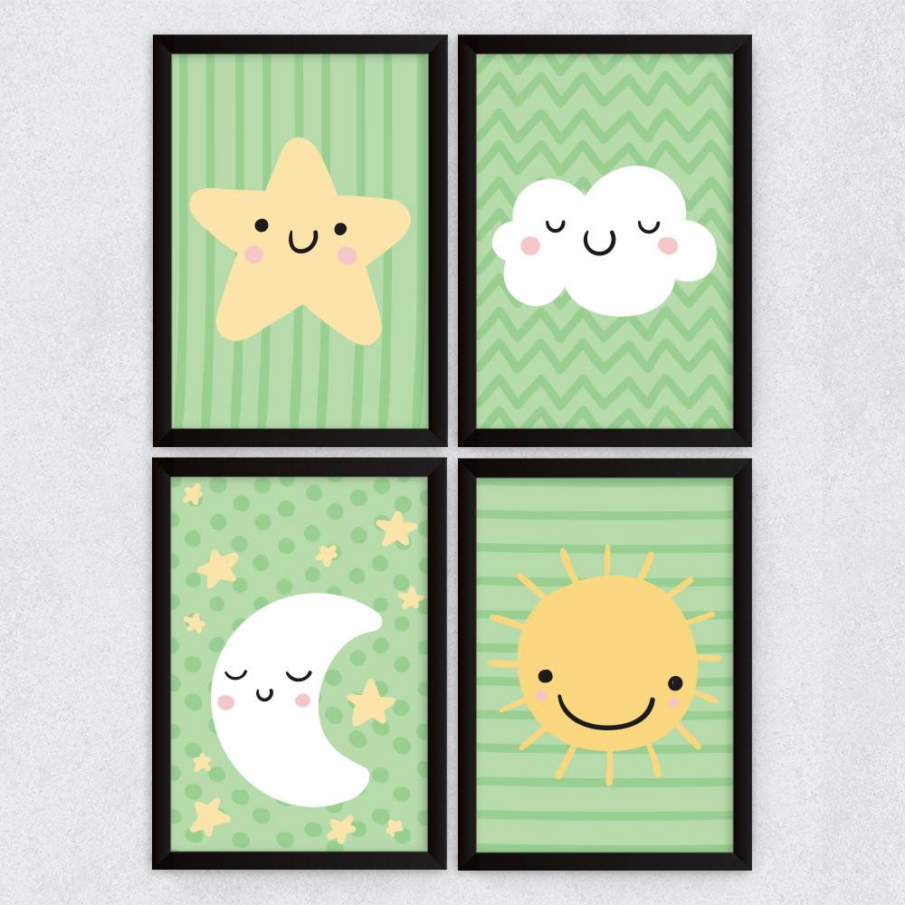 Conjunto de Quadros Decorativos Infantil Céu Verde