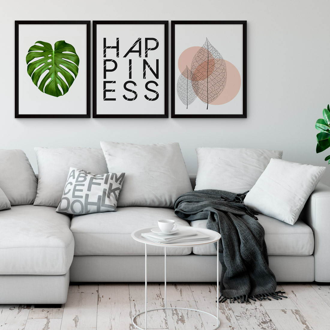 Conjunto de Quadros Decorativos Happiness