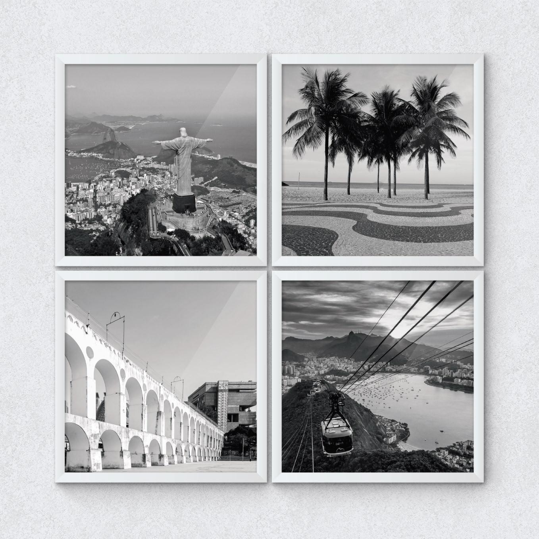 Conjunto de Quadrinhos Decorativos Pontos Turísticos Rio de Janeiro Brasil