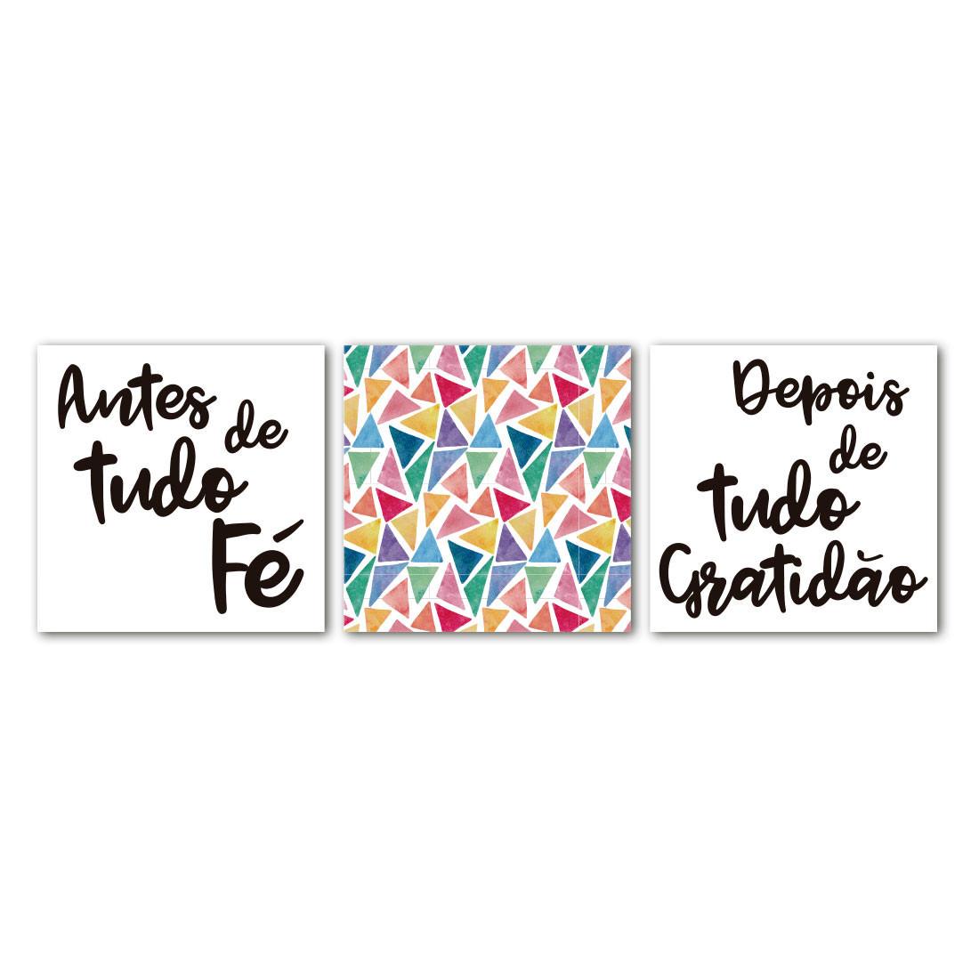 Conjunto de Quadros Decorativos Fé e Graditão - Em Canvas