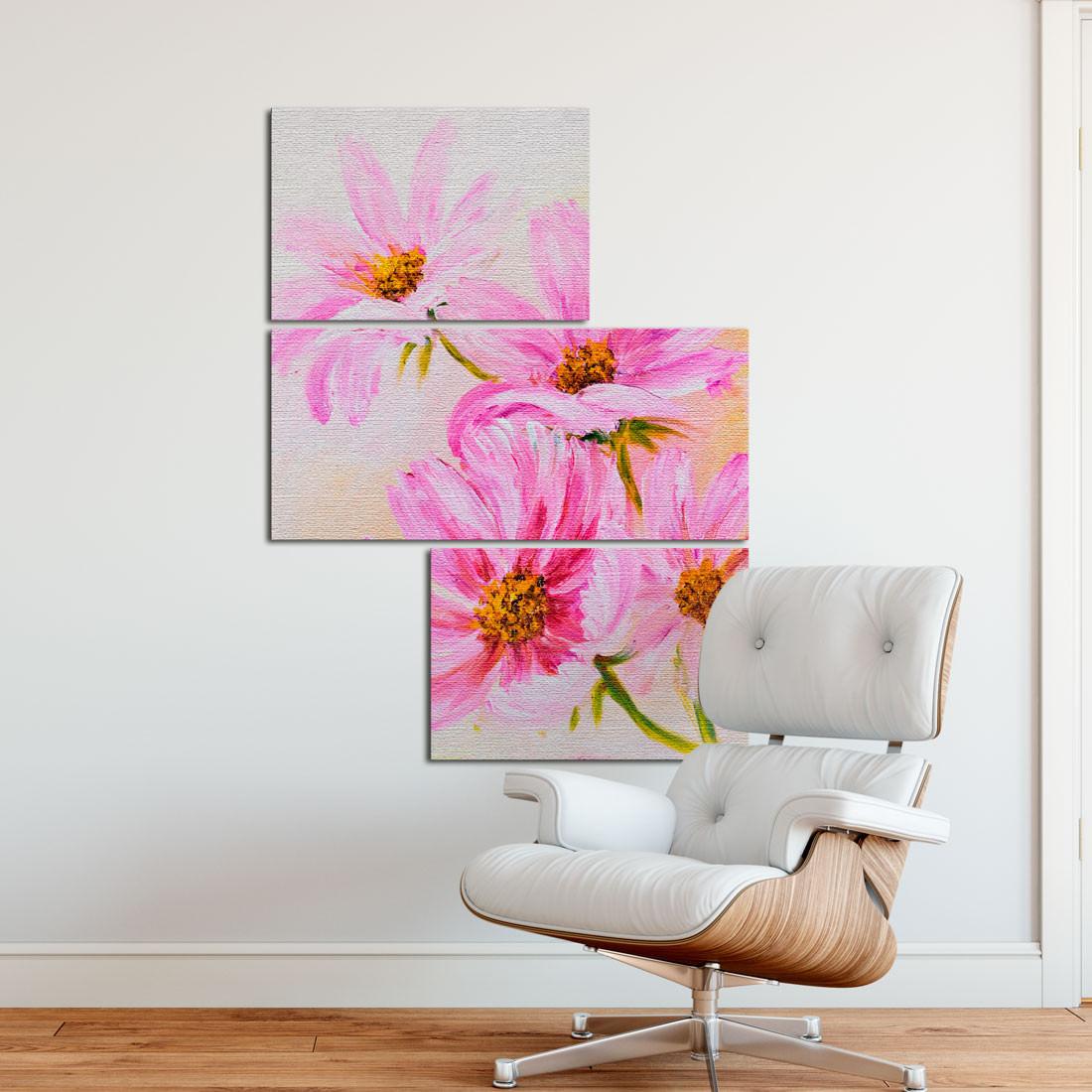 Conjunto de Quadros Decorativos Assimétrico Flores Silvestres