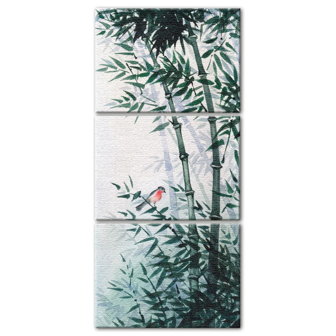 Conjunto de Quadros Decorativo Bambus e Pássaro