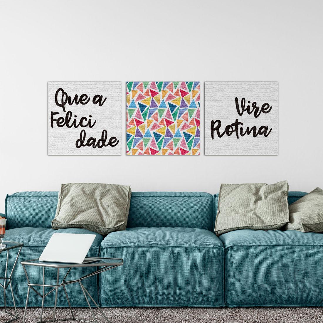 conjunto de quadros decorativos felicidade