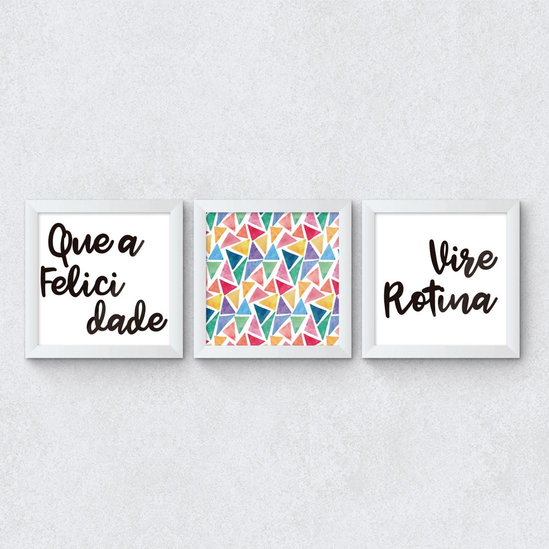 Conjunto de Quadros Decorativos Felicidade como rotina