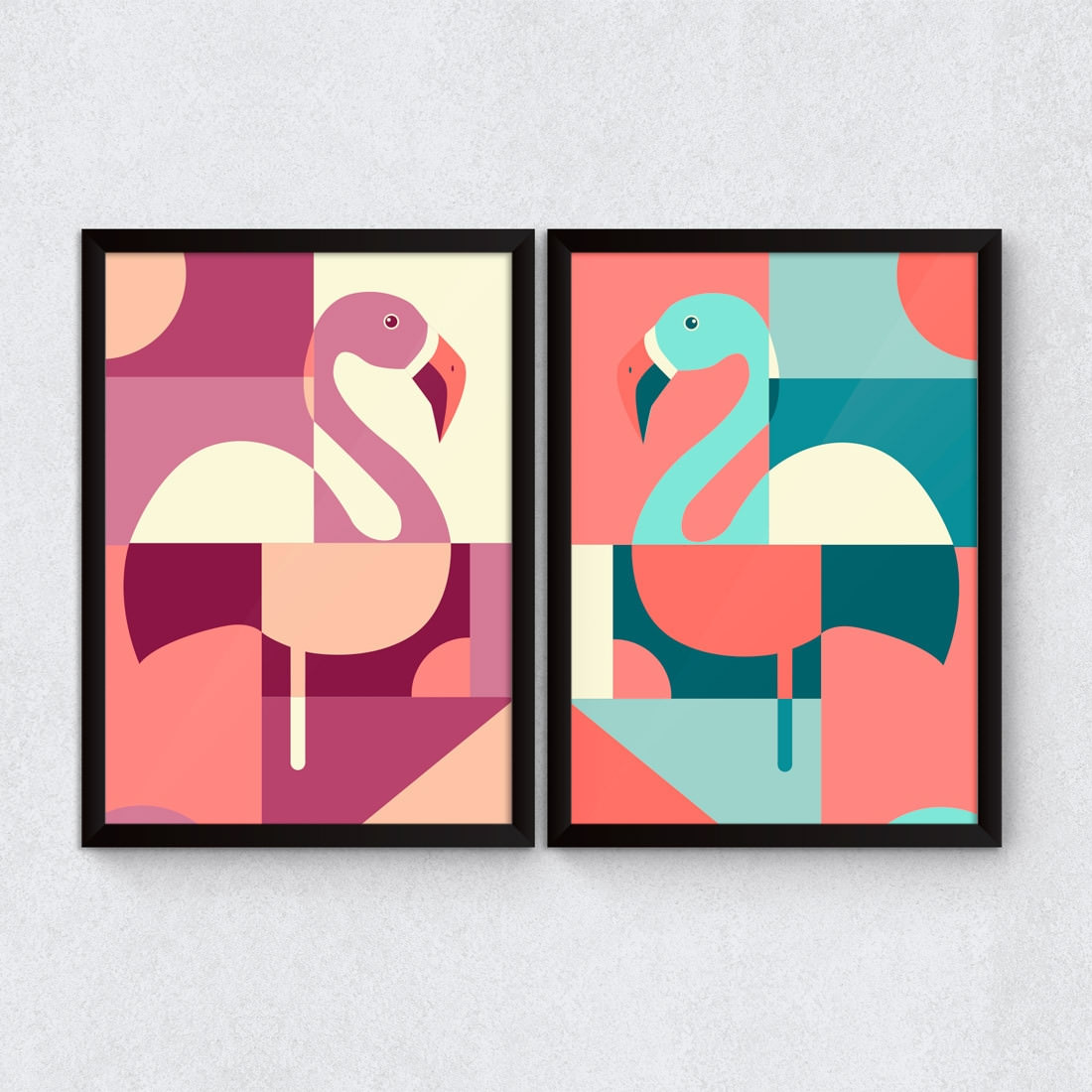 Conjunto de Quadros Decorativos Flamingos Abstratos