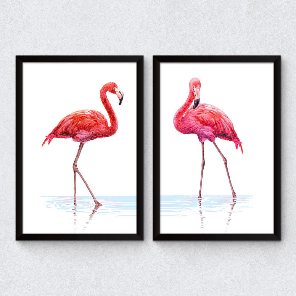 Conjunto de Quadros Decorativos Flamingos