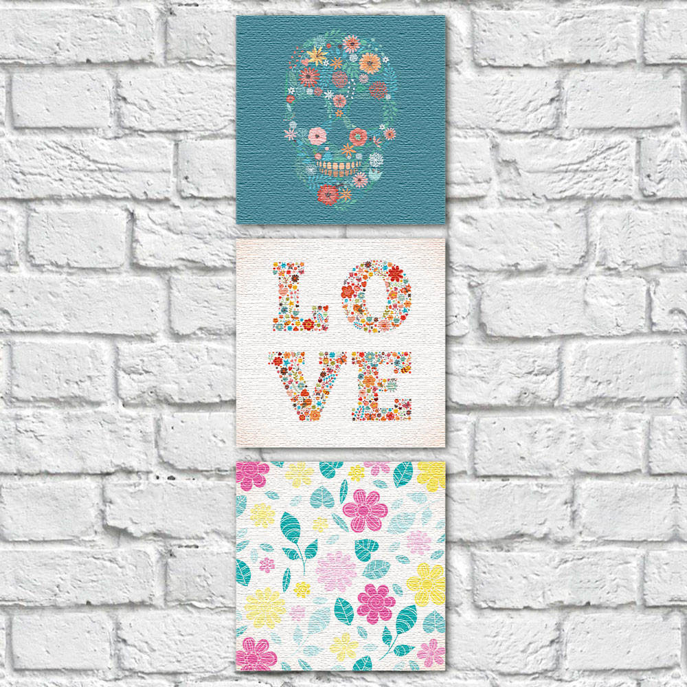 Conjunto de Quadros Decorativos Caveira Mexicana Love Vertical