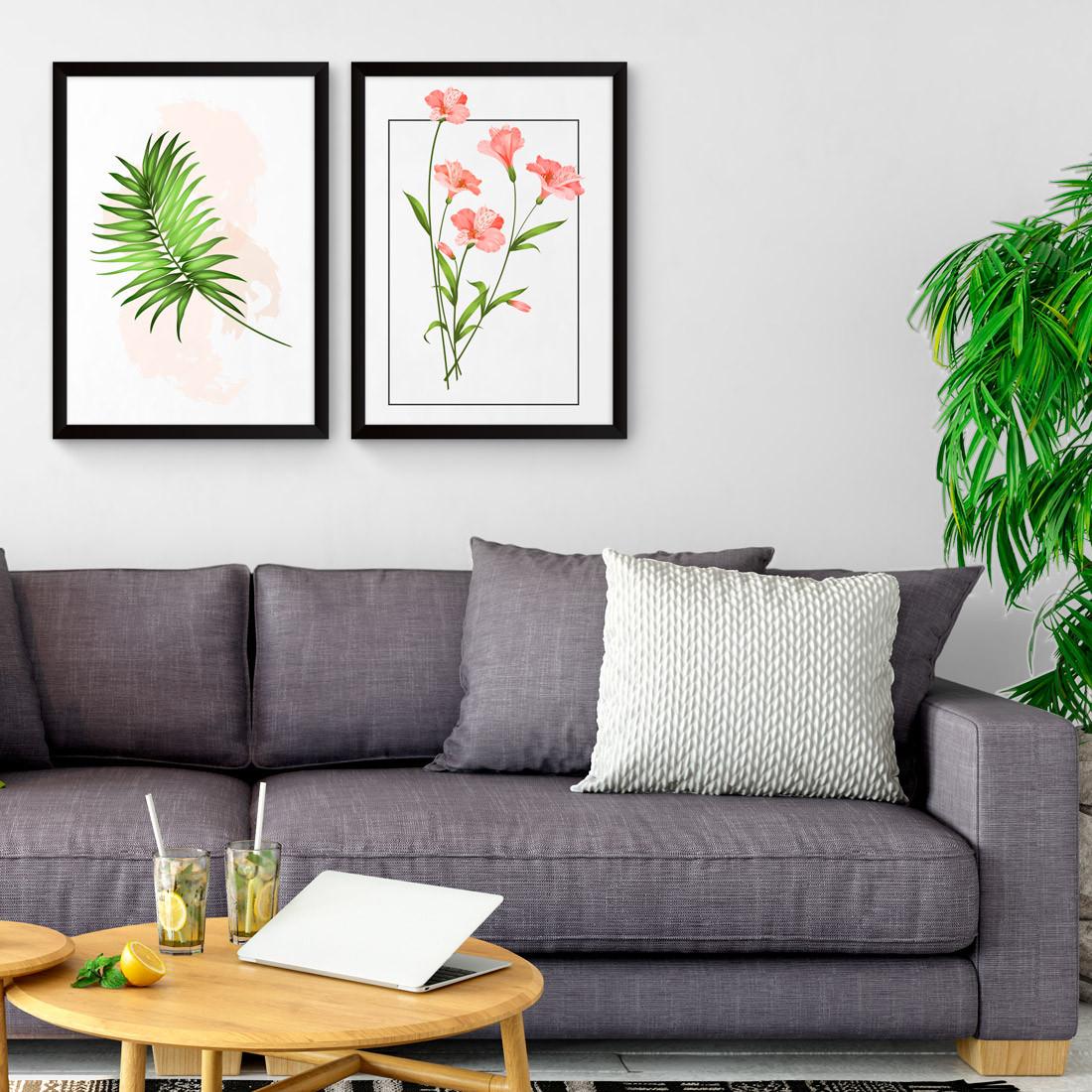 Conjunto de Quadros Decorativos Folha de Palmeira Tropical