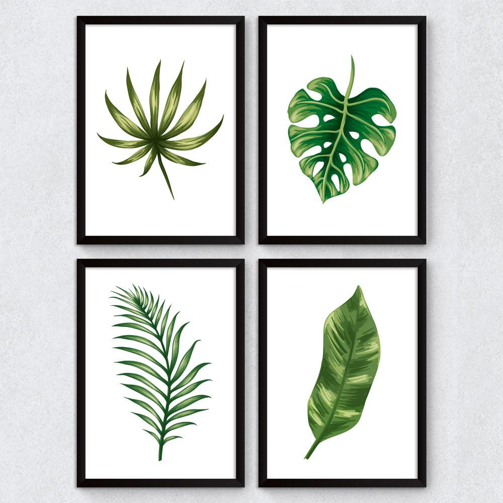 Conjunto de quadros decorativos folhas tropicais for Conjunto de espejos decorativos