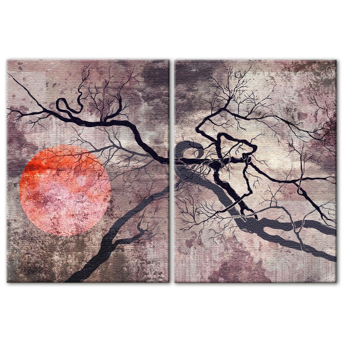Conjunto de Quadros Decorativos Sol Vermelho