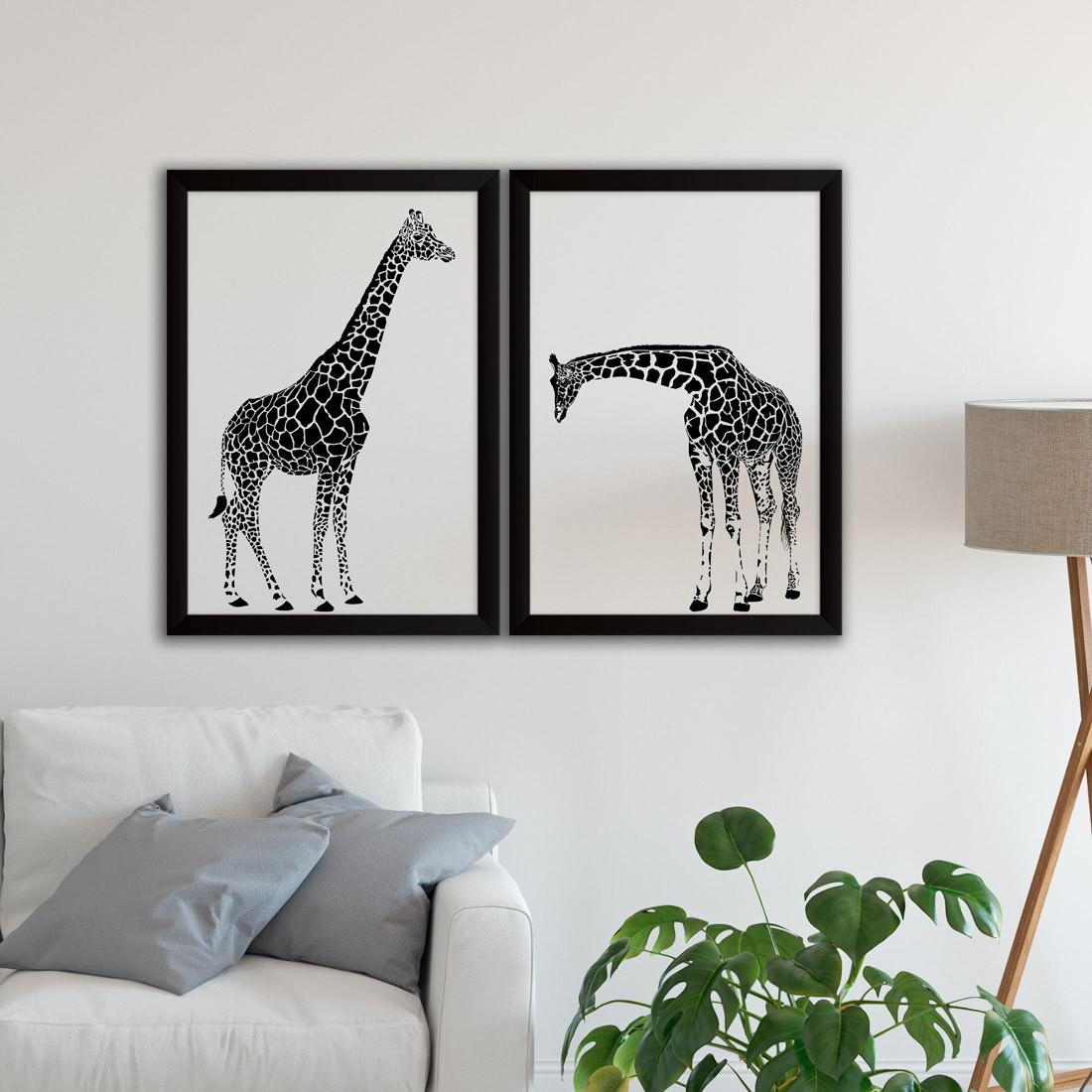 Conjunto de Quadros Decorativos Girafas