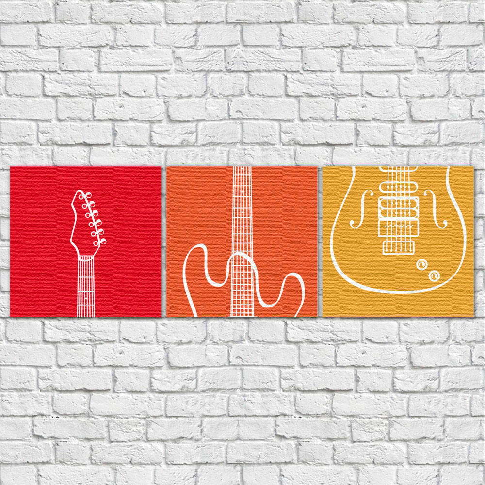 Conjunto de Quadros Decorativos Guitarra Abstrato