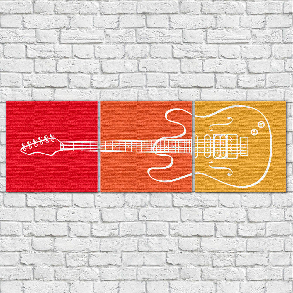Conjunto de Quadros Decorativos Guitarra horizontal