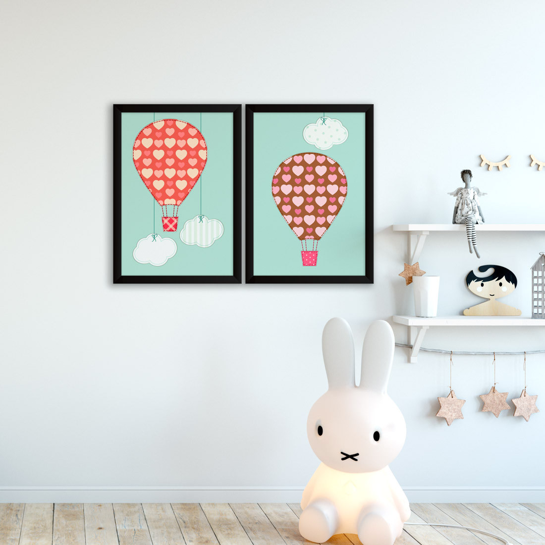 Conjunto de Quadros Decorativos Infantil Balões Estampados