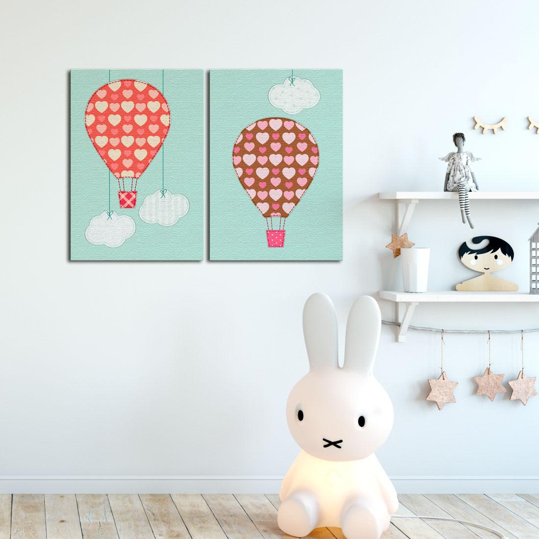 Quadro Decorativo Infantil Balões Estampados - Em Canvas