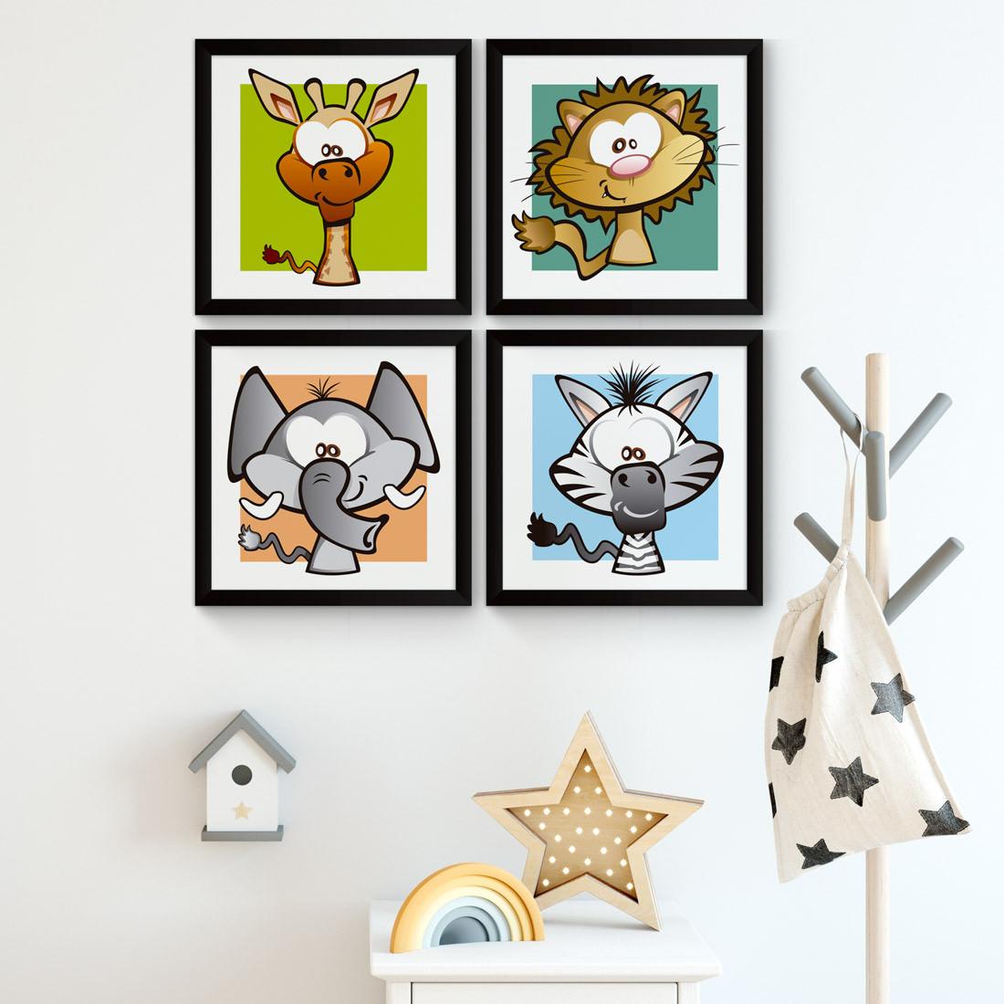 Conjunto de Quadrinhos Decorativos Infantil Animais Safari