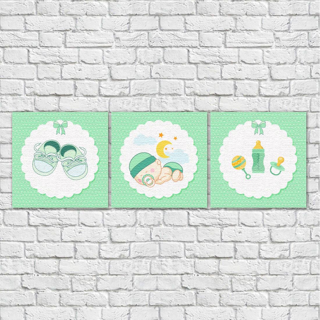 Conjunto de Quadros Decorativos Infantil Bebê Dorminhoco Verde