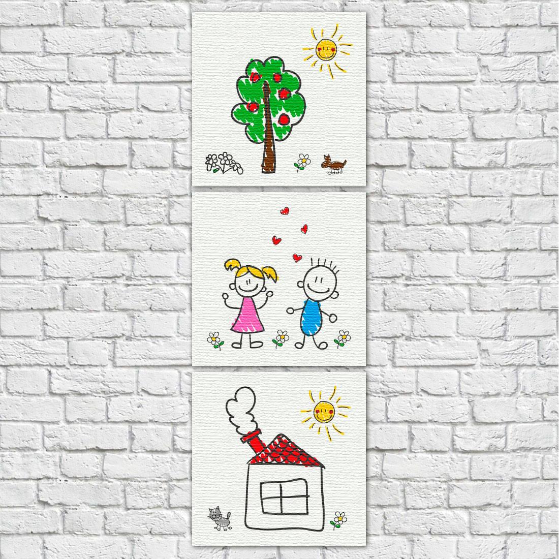 Conjunto de Quadros Decorativos Infantis Desenho de Crianças Vertical